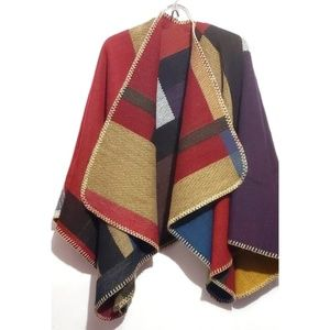 Sweaters - Over size reversible blanket open cape shawl